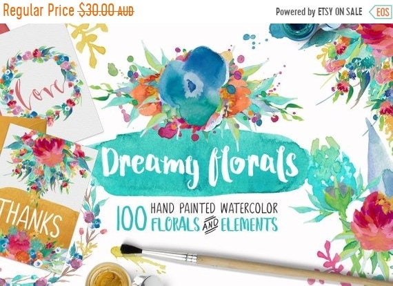 70% OFF Sale Dreamy Florals Watercolor Clipart Bundle - Hand Painted flowers, leaves, wreath, and more