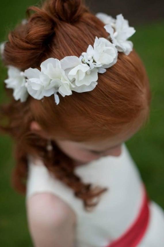 Flower girl white sweet pea flower girl or first communion mightylinksfo Gallery
