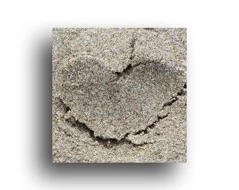 "Sand Heart on beach, Mini Valentine Art Print, 4.5"" wrapped canvas, Oregon Coast"