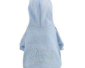 Light Blue Hoodie Sweatshirt with Rhinestone Angel Wing Design