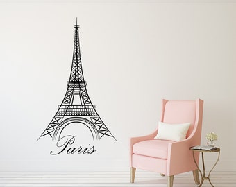 Eiffel Tower Wall Decal Paris Silhouette Vinyl Stickers Decals Art Home Decor Mural Vinyl Lettering Wall Decal France Bedroom Dorm x100