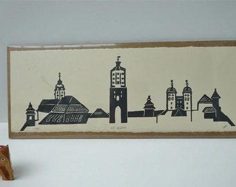 GZ skyline - handpulled screenprint, Günzburg, Bayern, Schwaben, townscape, Bavaria, Swabia, grey, relief style, small print