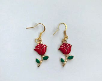 Gold and pink rosa earrings
