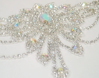 Sale  Vintage Style Wedding Bridal Bracelet, AB Rhinestone Victorian Style Wedding, Elegant Crystal Bracelet, Prom, Evening, Sparkle, Rocker