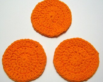 Cotton Facial Scrubbies, Bath & Beauty, Orange Spa Accessories, Makeup Remover pads, London, Ontario, Canada, Gift for Her