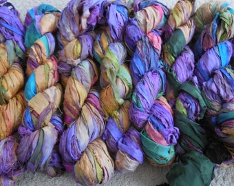 50 Yards,  Sari Silk Ribbon Skein,  Purple and Yellow mixed with other Colors,  Fair Trade from India