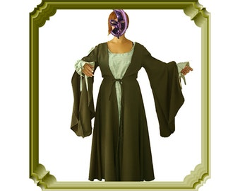 Medieval women clothing Garment assembly olive coat & green gown Old Period handmade costume La Filoche Canadian seller shop from Montreal