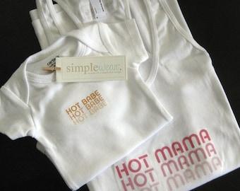 hot mama/hot babe - tank top & baby bodysuit set