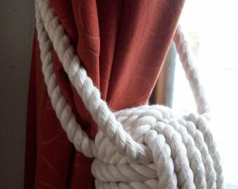 4 Cotton Rope Curtain Tie backs, 2 pairs of ties, Cream Curtain Tiebacks, Handmade Tiebacks, Handmade Tiebacks