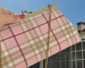 Ladies Clutch, Evening Bag, Modern Clutch Frame Purse, Kisslock Purse with Chain