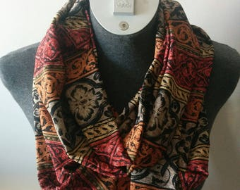 Red Black Grey and Rust Fashion Infinity Scarf