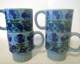 Blue Floral Stacking Mugs Vintage Funky Set of Four Groovy Stacking Coffee Cups Made in Japan Drinkware Tea