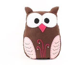 Stuffed Owl Sewing Pattern, Felt Owl Plush Softie, Woodland Owl Pattern, Owl Plushie, Owl Stuffie, Instant Download PDF