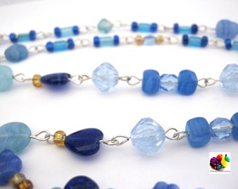 blue heart glass beads silver chain necklace