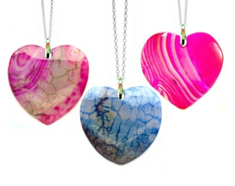 Agate Pendant, Heart Jewelry, Girlfriend Gift, Agate Stone Heart Necklace, Agate Jewelry, Love Heart, New Mum Gift Heart Shaped Jewelry Pink