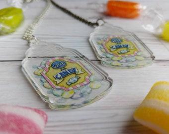 Sweetie Jar Pendant Sweet As Candy Clear Acrylic Necklace Pastel Grunge Vintage Sweet Jar Pastel Goth Sweet Lolita Fashion