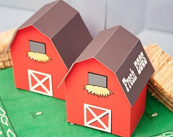 BARN Favor Box : Print at Home Farm Themed Gift Box | Barnyard Favor | Full-Color Template | DIY Printable | Digital File | Instant Download