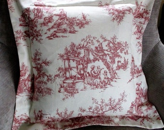 "Pink Toile de Jouy Oxford Cushion/Pillow 20"" Square"