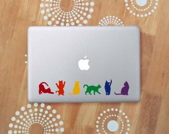 Rainbow Cats Laptop Decal, Cat Car Decal, Rainbow Decal, Cat Rainbow Stickers, Pride Cat Decal, Pride Decal