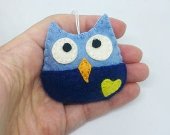 Blue owl ornament - handmande felt ornaments - Christmas home decor - Baby shower - for boys - READY TO SHIP