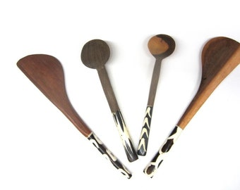 African Wood Bone Handle Spoons Utensils Set of 4 Ethnic Kitchen