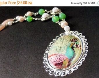 SUMMER SALE Peacock Necklace. Beaded Necklace. Bird Necklace. Mint Green Necklace. Pink Necklace. Silver Necklace. Handmade Necklace. Handma