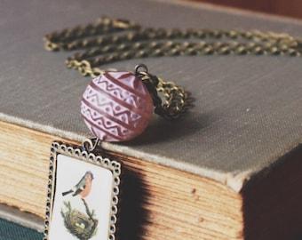 Bird, Egg Nest, Nature, Boho, Soft Pink Vintage Lucite Bead, Necklace
