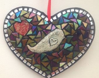 Mosaic Heart Wall Hanging Decoration with Bird.