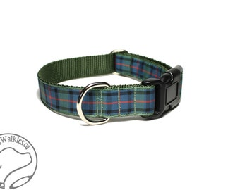 """Flower of Scotland Tartan Dog Collar - 1"""" (25mm) Wide - Heather Green Plaid - Matingale or Side Release Buckle - Choice of size & style"""