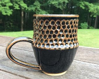 Dotted Handmade Ceramic Mug Black/Brown - Stoneware
