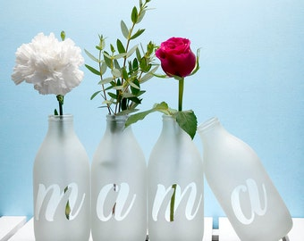 Personalised Letter Vase - Mother's Day Gift - Gift For Mama - Mama Bear - Choice of up to 10 Vases - Milk Bottle Vases - FREE UK DELIVERY