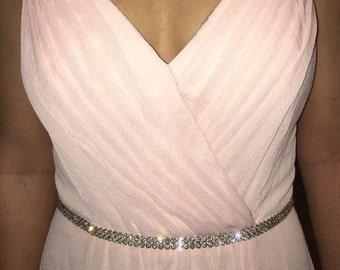 Bridesmaids Belt, Blush Pink Crystal Bridesmaid Sash, Crystal Wedding Party Belt, Thin Jeweled Maid Of Honor Sash, Prom Sash Belt, No. 6000S
