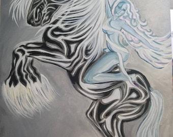 "Original ""Free Spirit"" Horse Goddess Painting 16x20"