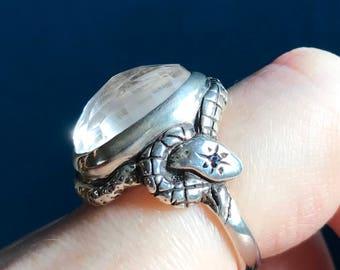 Rose Cut Clear Quartz and Sapphires- Star Snake Talisman Ring