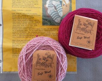 Womens Knitting PINK Sock Kit - Wild River Wool Ranch HANNAH'S FANA Socks Light Worsted Weight Yarn - Vintage Sock Knitting Kit With Yarn