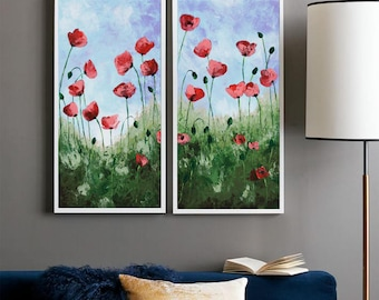 Poppy painting etsy poppy painting palette knife floral art abstract flower california red poppies impasto texture landscape modern wall art 24 mightylinksfo