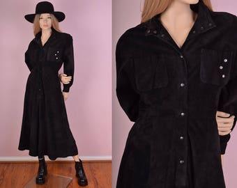 80s Black Suede Long Sleeve Dress/ Medium/ 1980s/ Full Skirt