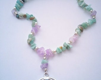 Amazonite and Amethyst Om chakra necklace