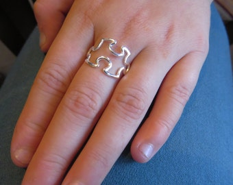 Puzzle ring sterling silver, Jigsaw ring, unusual ring, autism ring