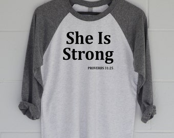 She Is Strong Oversized T-shirt, Proverbs Top, Graphic Tee, Slouchy Tee