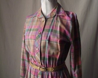 Vintage Shirt Dress 1970s Pastel Plaid Medium