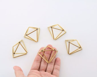 50 Brass Little Diamonds, 50 Brass Minimalist Himmeli Diamond Shape Ornaments, Table Centerpieces