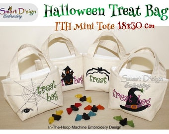 4x ITH Halloween Tote Treat Bags 7x12 inch Set In The Hoop Machine Embroidery Design