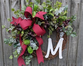 Door Wreath, Wreath for all year round,Spring Front Door Wreath Wreath for Spring, Summer, Fall, Letter Wreath, Wreath with Letter