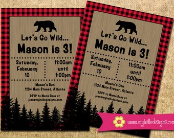 Printable Buffalo Plaid Invitation - lumberjack outdoor bear party paper goods Invite DIY boy girl card printable birthday JPG PDF digital