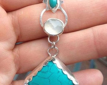 Sterling Silver, Turquoise and Moonstone Pendant