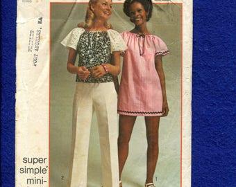 1972 Simplicity 5468 Angel Wing Sleeve Boho Top or Mini Dress  Size 12/14 Medium