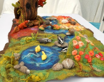 Felted play mat, Child's play mat, countryside play mat, hand felted play mat, Waldorf, Pre School, Play scape, Nursery School, Play Group,
