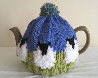 Hand Knit Sheep Tea Cosy for 2 cup &  6 - 10 cup pot in Merino Wool