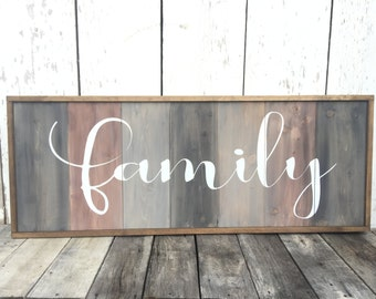 Family Sign - Large Family Wood Sign - Rustic Home Decor - Rustic Wall Hanging - Welcome Sign - Rustic Sign - Custom Family Sign - Cottage